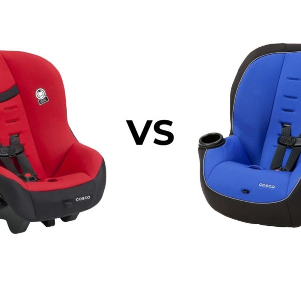 """left side: red car seat angled to the right; right side: blue car seat angled to the left; between: black text """"VS"""". Comparison of Cosco Scenera Next vs Apt 50 convertible car seats."""