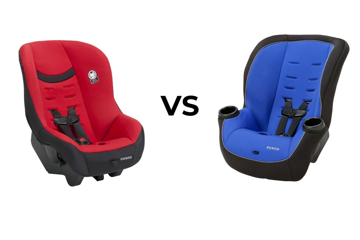 "left side: red car seat angled to the right; right side: blue car seat angled to the left; between: black text ""VS"". Comparison of Cosco Scenera Next vs Apt 50 convertible car seats."