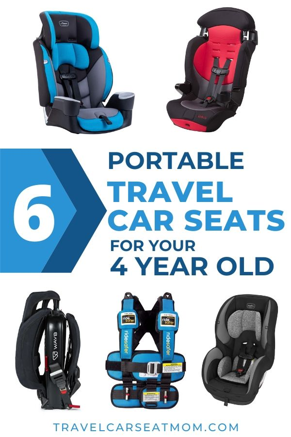 "Collage of 5 best travel car seat for 4 year old: blue Ride Safer travel vest, Wayb Pico, black Evenflo Sureride, red Cosco Finale DX, blue Evenflo Maestro Sport. Text in center: ""8 lightweight travel car seats for your 3 year old"""
