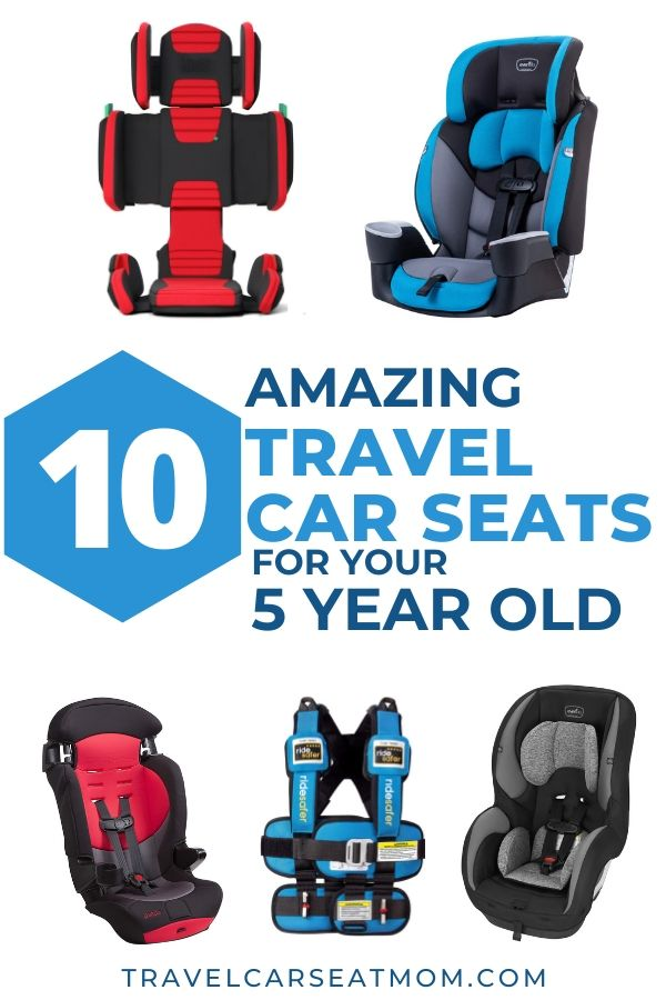 Collage of 5 travel car seats for 5 year old: red hifold folding booster seat, blue Evenflo Maestro Sport, gray Evenflo Sureride, blue Ride Safer travel vest, red Cosco Finale DX
