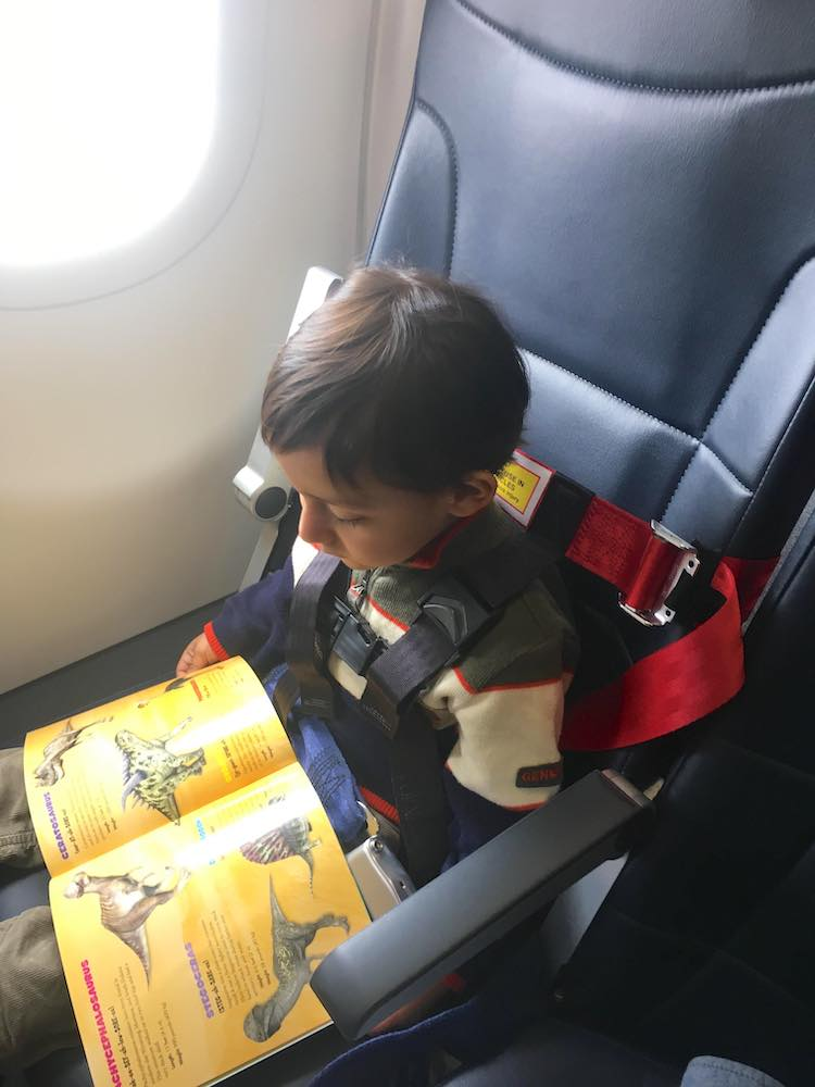 Boy in striped sweater using the AmSafe CARES Kids Fly Safe harness on an airplane, the only FAA approved   toddler harness for airplanes